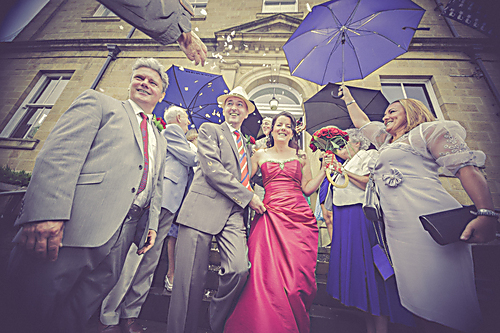 Tess, Dec and guests on their wedding day